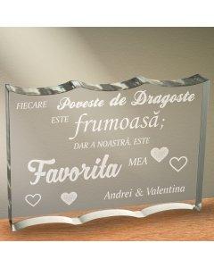 Cadou personalizat trofeu plexiglas ondulat - Povestea de dragoste favorita