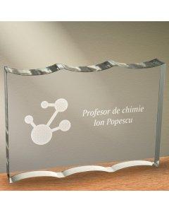 Cadou personalizat trofeu plexiglas ondulat - Profesor de geografie