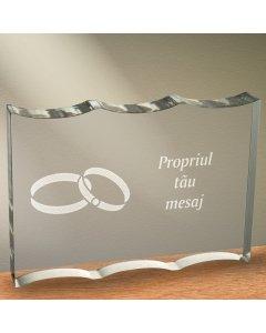 Cadou personalizat trofeu plexiglas dreptunghiular cu onduleuri - Simbolul iubirii infinite