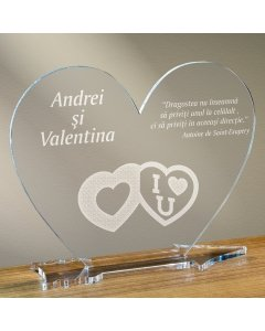 Cadou personalizat placheta plexiglas inima - Te iubesc