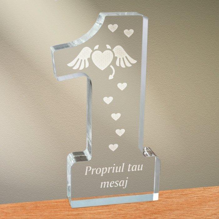 Cadou personalizat trofeu plexiglas cifra inimi - Inima dracusor