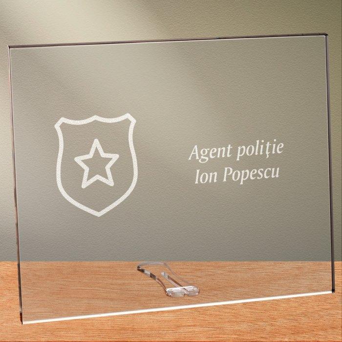 Cadou personalizat placheta din plexiglas - Politist