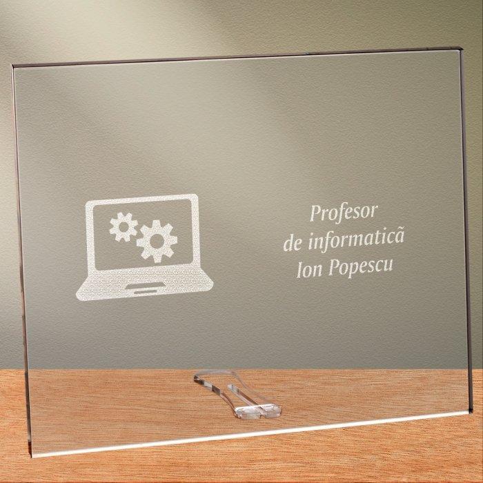 Cadou personalizat placheta din plexiglas - Profesor de informatica