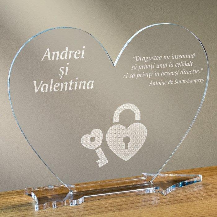 Cadou personalizat placheta plexiglas inima - Cheia inimii mele