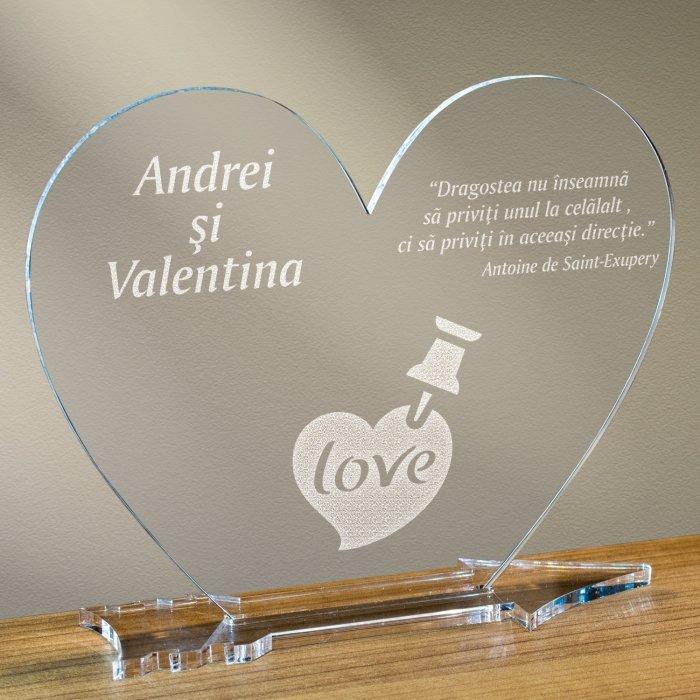 Cadou personalizat placheta plexiglas inima - Notita de iubire