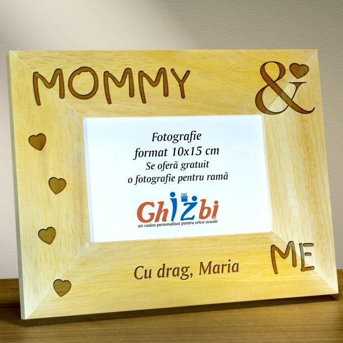 Cadou personalizat rama din lemn - Mommy & me