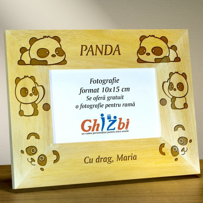 Cadou personalizat rama din lemn - Panda