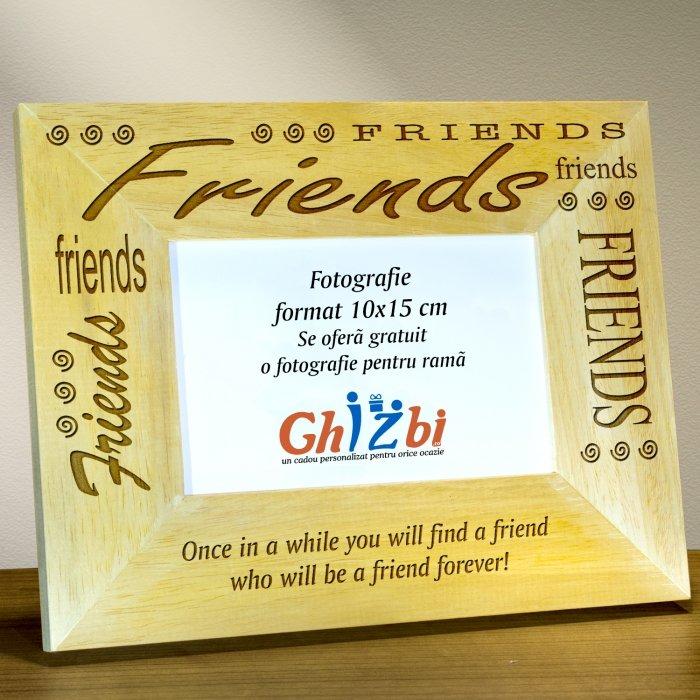Cadou personalizat rama din lemn - Prieteni pentru totdeauna
