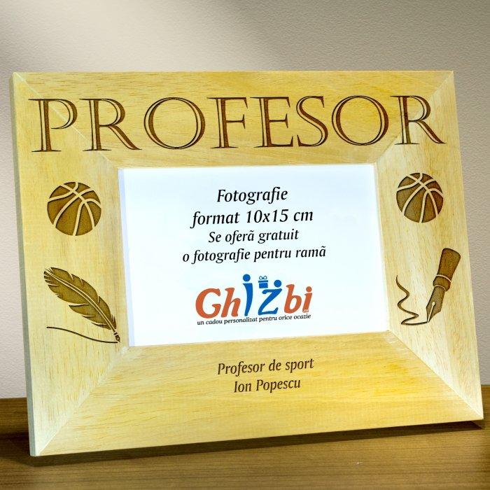 Cadou personalizat rama din lemn - Profesor de sport