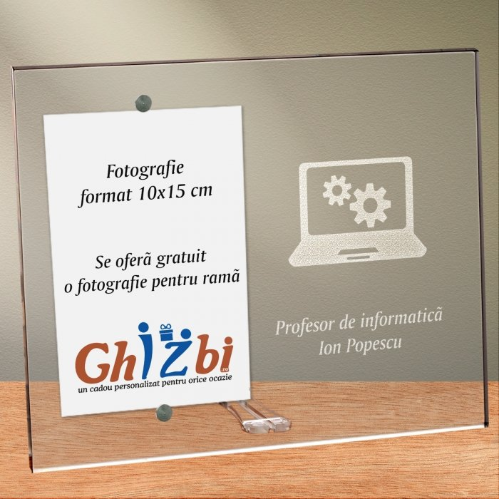 Cadou personalizat rama plexiglas - Profesor de informatica