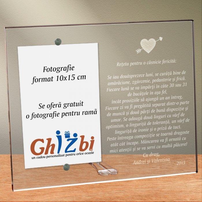 Cadou personalizat rama plexiglas - Reteta pentru o casnicie fericita