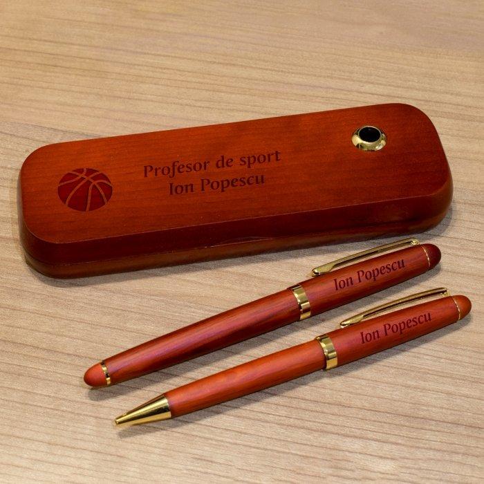 Cadou personalizat set instrumente de scris din palisandru - Profesor de sport