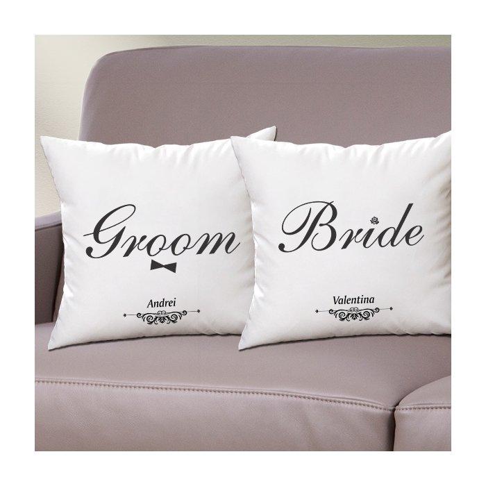 Cadou personalizat set perne - Bride Groom