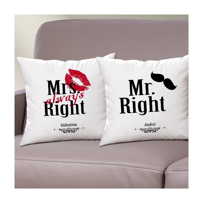 Cadou personalizat set perne - Mr. Right & Mrs. always right