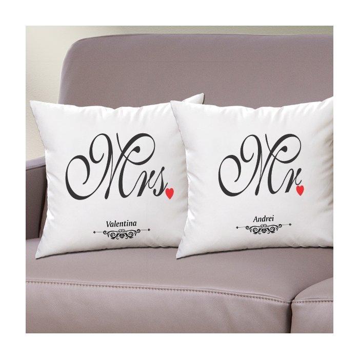 Cadou personalizat set perne - Mr & Mrs