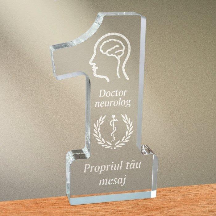 Cadou personalizat trofeu plexiglas cifra medical - Doctor neurolog