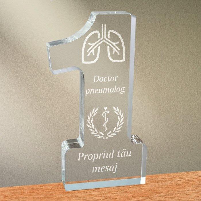 Cadou personalizat trofeu plexiglas cifra medical - Doctor pneumolog