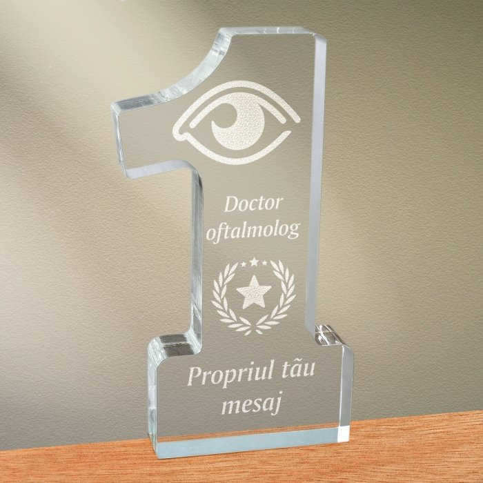 Cadou personalizat trofeu plexiglas cifra stele - Doctor oftalmolog