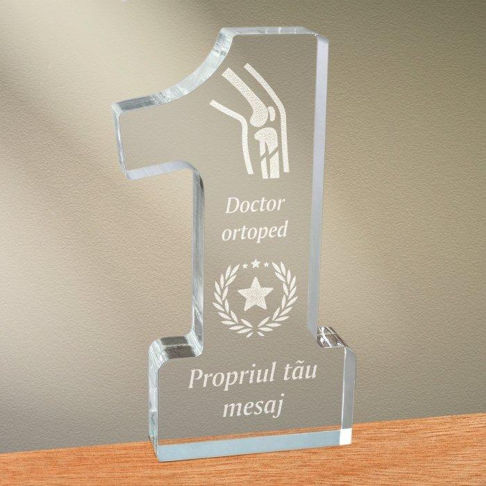 Cadou personalizat trofeu plexiglas cifra stele - Doctor ortoped