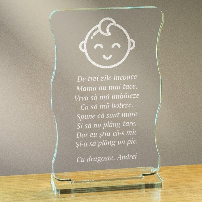 Cadou personalizat trofeu plexiglas cu suport - Botez baietel