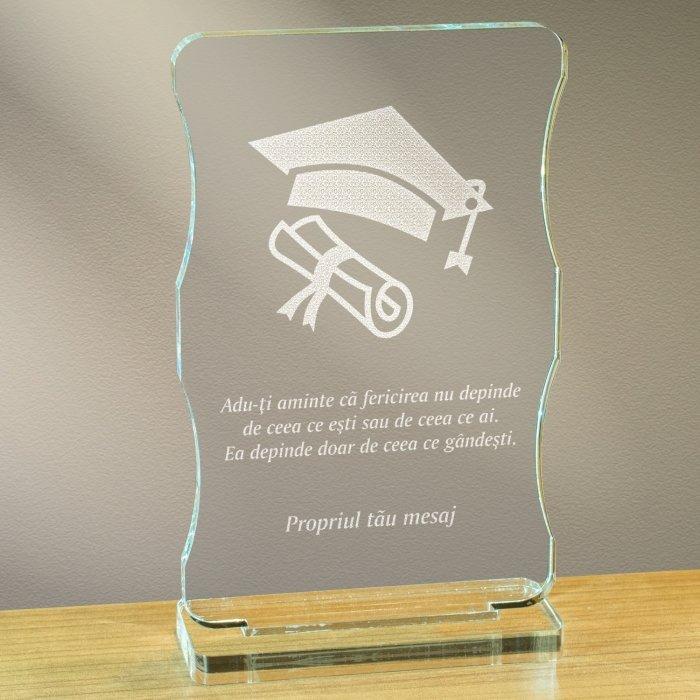 Cadou personalizat trofeu plexiglas cu suport - Fericirea depinde de ce gandesti