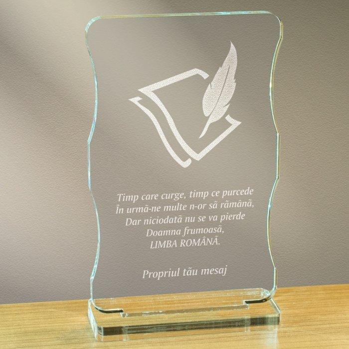 Cadou personalizat trofeu plexiglas cu suport - Limba romana nu se pierde