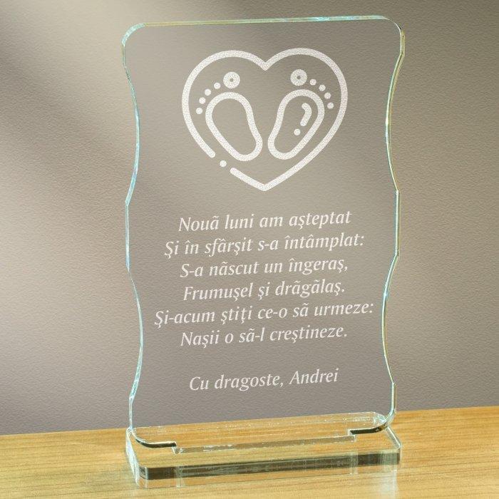 Cadou personalizat trofeu plexiglas cu suport - Nasii o sa-l crestineze