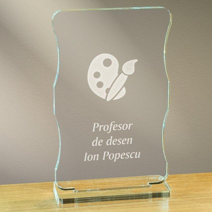 Cadou personalizat trofeu plexiglas cu suport - Profesor de desen