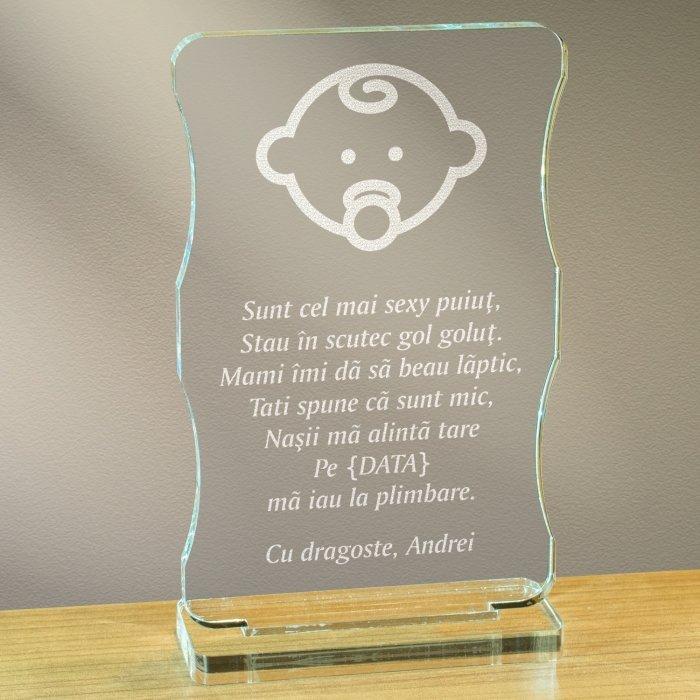 Cadou personalizat trofeu plexiglas cu suport - Sunt cel mai sexy puiut