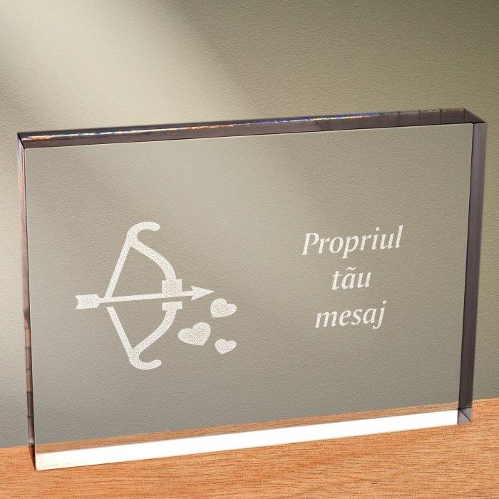Cadou personalizat trofeu plexiglas dreptunghiular - Arcul lui Cupidon