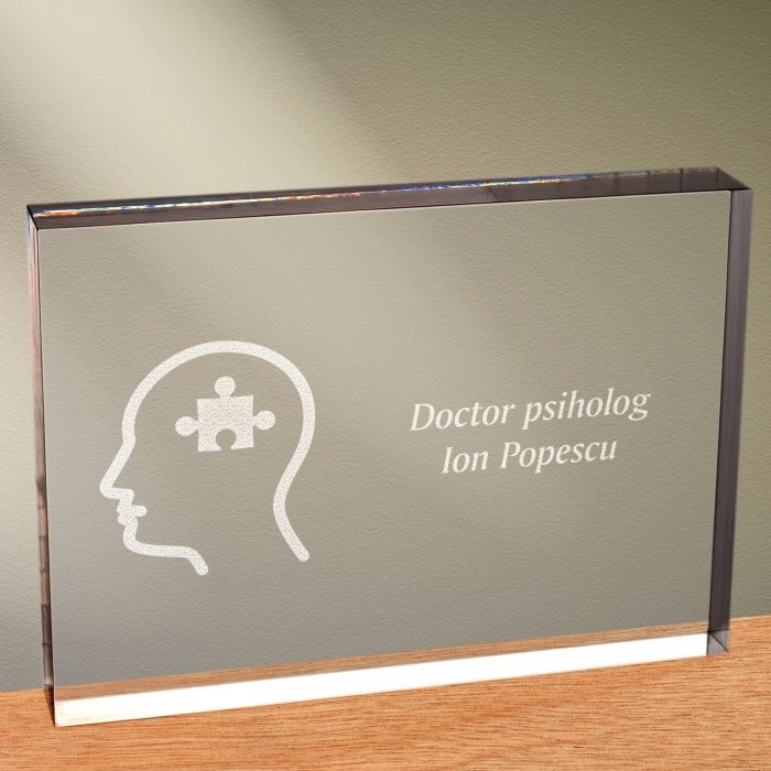 Cadou personalizat trofeu plexiglas dreptunghiular - Doctor psiholog