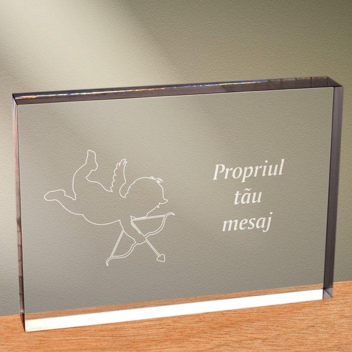 Cadou personalizat trofeu plexiglas dreptunghiular - Dovada de iubire