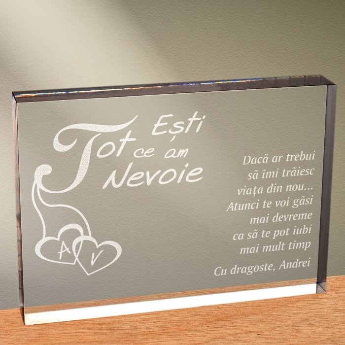 Cadou personalizat trofeu plexiglas dreptunghiular - Esti tot ce am nevoie