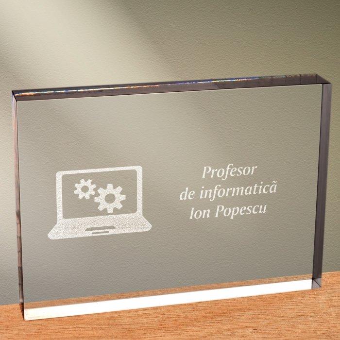 Cadou personalizat trofeu plexiglas dreptunghiular - Profesor de informatica