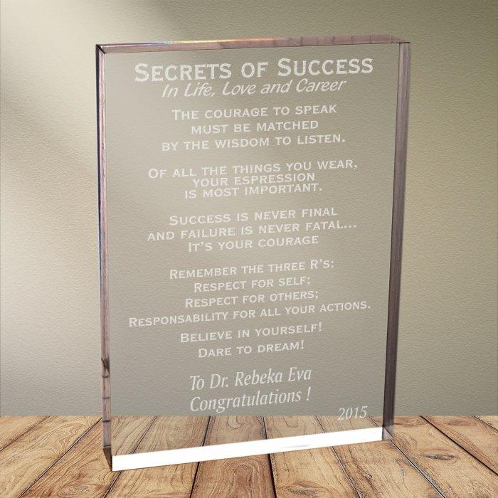 Cadou personalizat trofeu plexiglas dreptunghiular - Secrets of success