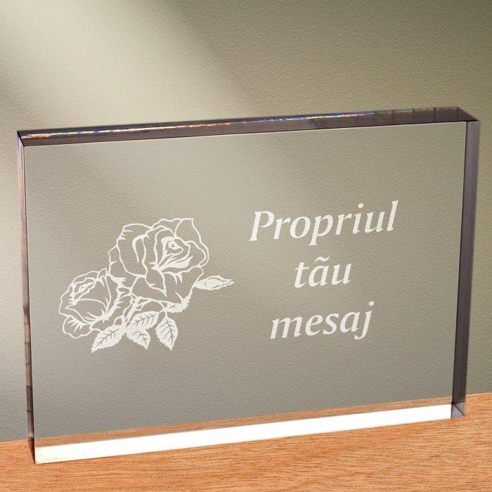 Cadou personalizat trofeu plexiglas dreptunghiular - Trandafir