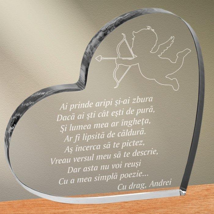 Cadou personalizat trofeu plexiglas inima - Ai prinde aripi