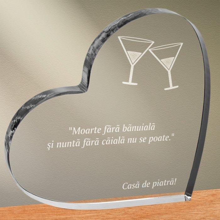 Cadou personalizat trofeu plexiglas inima - Nunta fara caiala nu se poate