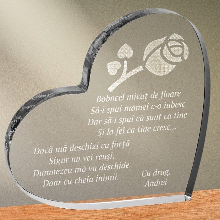 Cadou personalizat trofeu plexiglas inima - Sa ii spui mamei