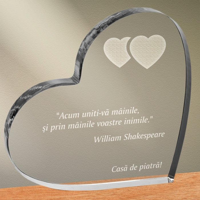 Cadou personalizat trofeu plexiglas inima - Uniti-va inimile