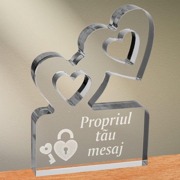 Cadou personalizat trofeu plexiglas inimi - Cheia inimii mele