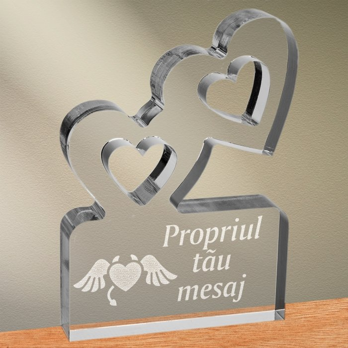 Cadou personalizat trofeu plexiglas inimi - Inima dracusor