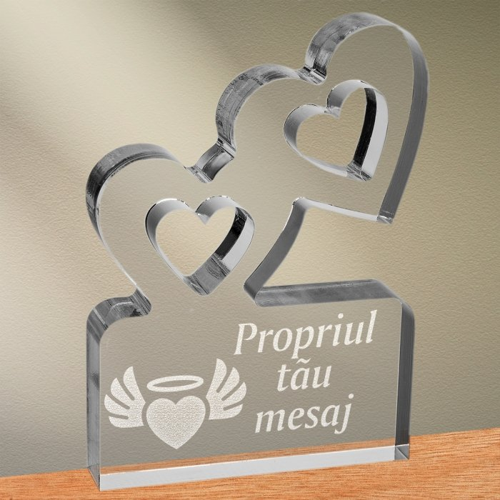 Cadou personalizat trofeu plexiglas inimi - Inima inger