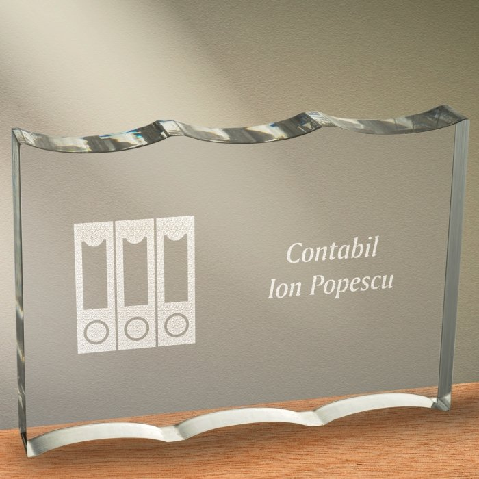 Cadou personalizat trofeu plexiglas ondulat - Contabil