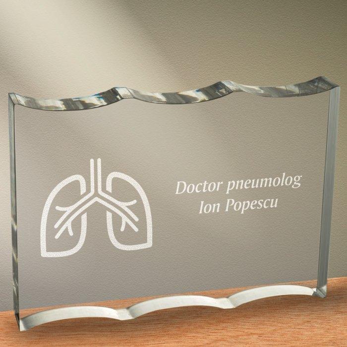 Cadou personalizat trofeu plexiglas ondulat - Doctor pneumolog