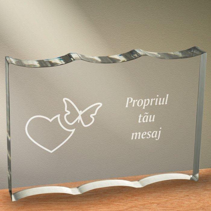 Cadou personalizat trofeu plexiglas ondulat - Emotii de iubire
