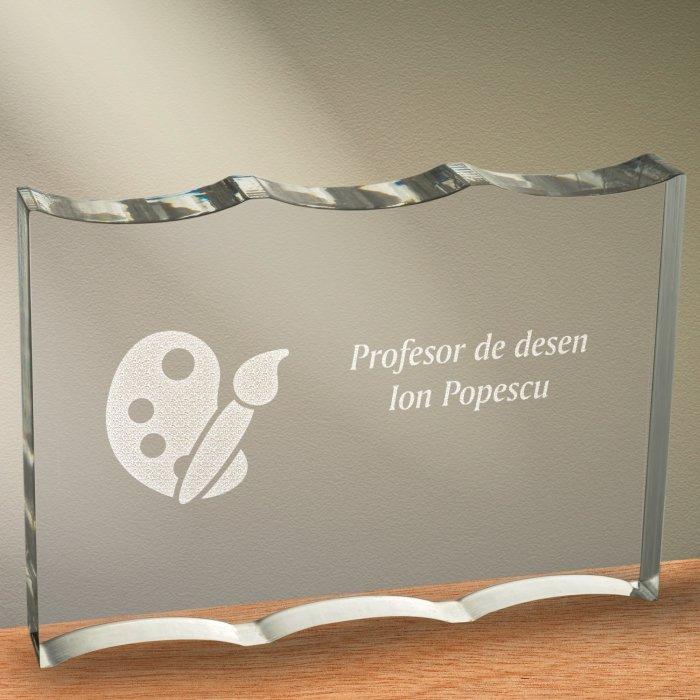 Cadou personalizat trofeu plexiglas ondulat - Profesor de desen