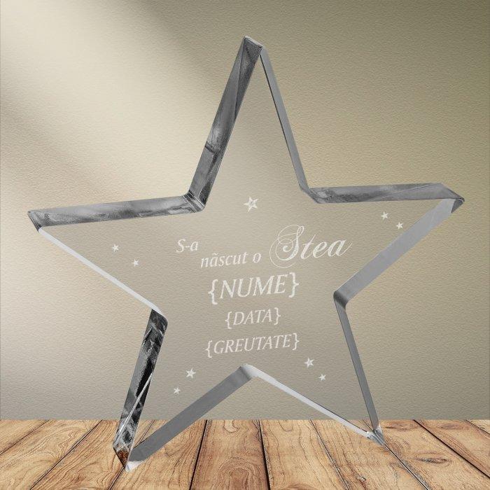 Cadou personalizat trofeu plexiglas stea - S-a nascut o stea