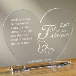 Cadou personalizat placheta plexiglas inima - Esti tot ce am nevoie