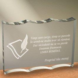 Cadou personalizat trofeu plexiglas dreptunghiular cu onduleuri - Limba romana nu se pierde